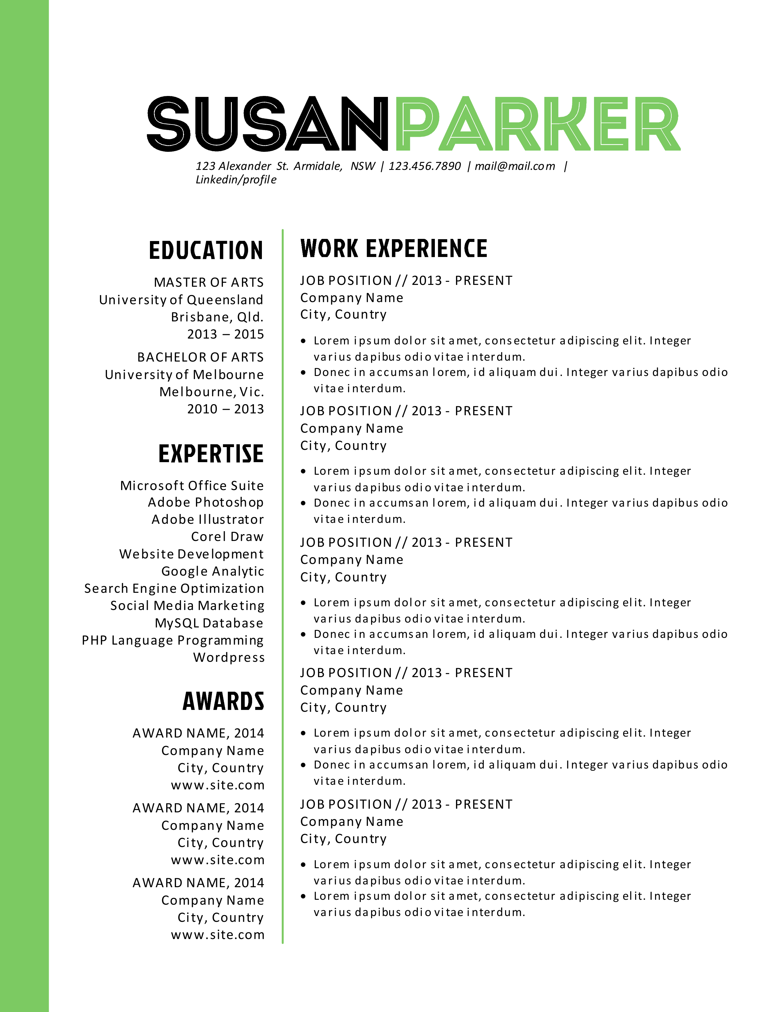 bold green modern resume template by inkpower on creative