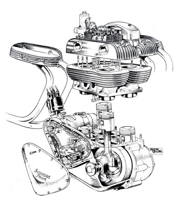 ariel square four engine cutaway
