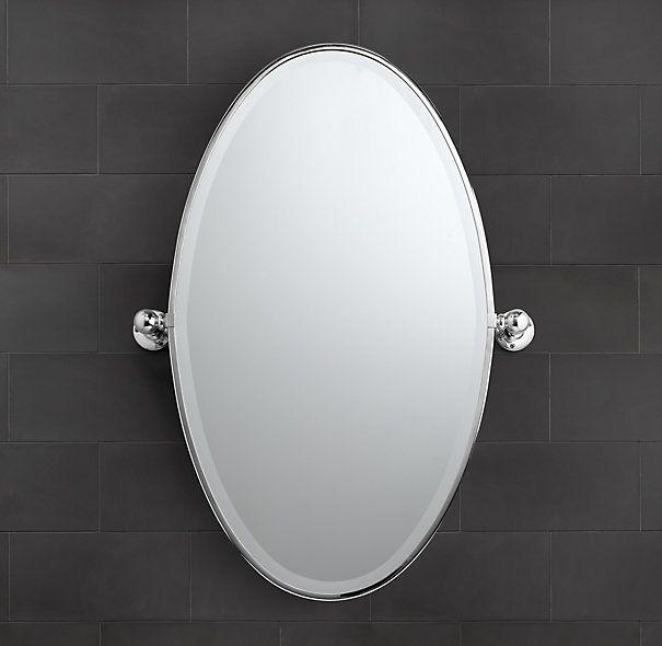 Vintage Oval Pivot Mirror Master Bath X2