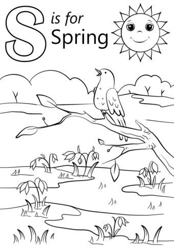 Letter S is for Spring coloring page from Letter S