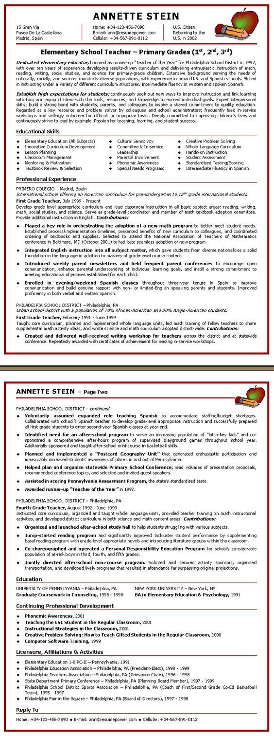 Teacher Resume Elementary School Teacher Sample Resume School