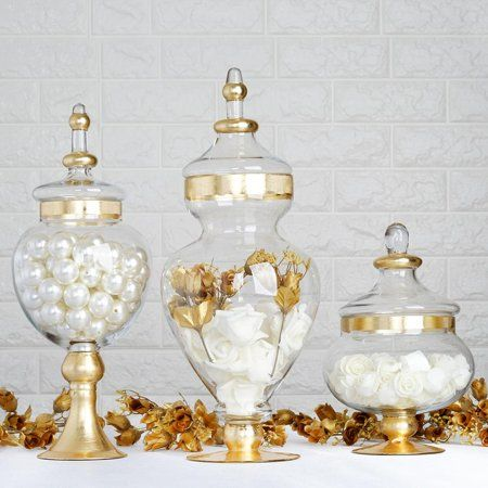 Efavormart Set of 3 Gold Trimmed Glass Apothecary