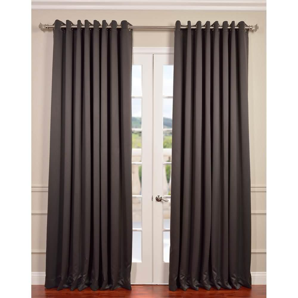 Exclusive Fabrics Furnishings Anthracite Grey Grommet Blackout Curtain 100 In W X 120 In L Boch 201403 120 Grdw The Home Depot Tirai