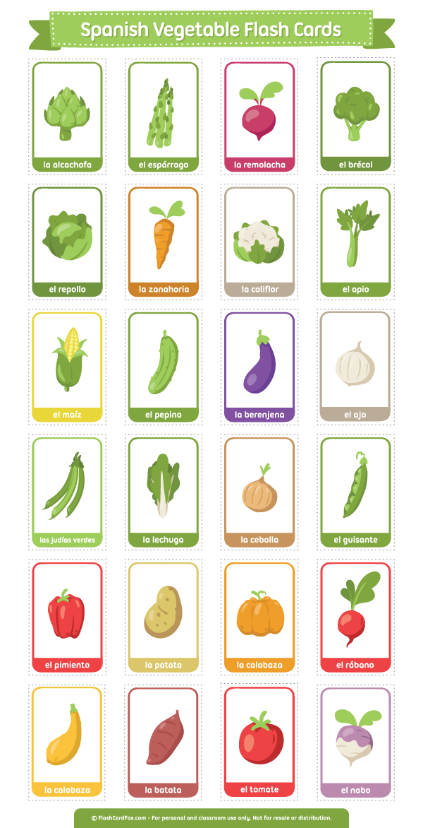 Free printable Spanish Vegetable flash cards. Download the
