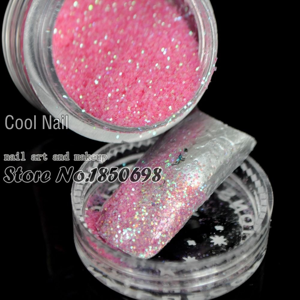 Nail Art Colorful Pink Laser Glitter Powder Dust For UV GEL Acrylic ...