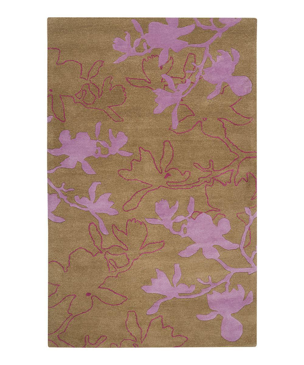 Modern Leaves Rug: Tea Leaves & Orchid Modern Wool Rug