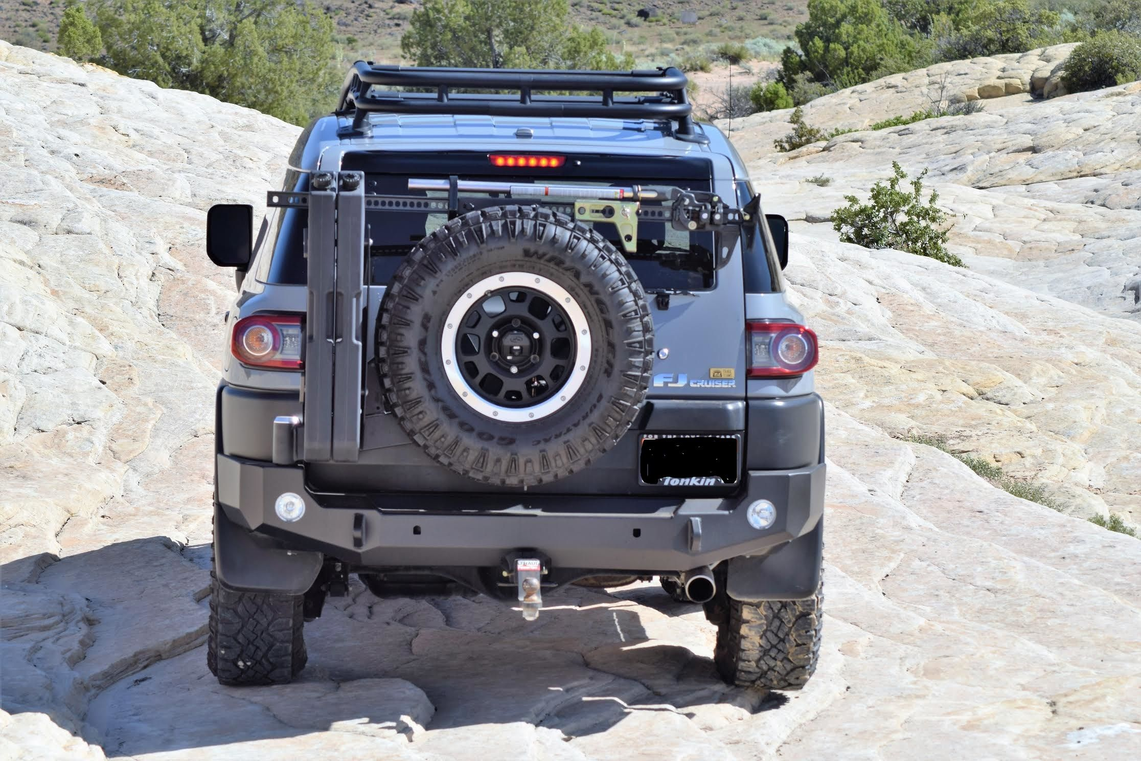 Expedition One Fjc With Smooth Tire Carrier Hi Lift Jack Mount On Jeep Wrangler Water Geri Cans