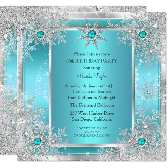Teal Blue Snowflake Silver Winter Wonderland Invitation | Zazzle.com – 13th winter wonderland party