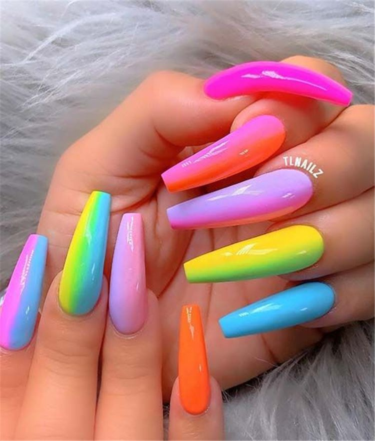 Stunning Rainbow Or Multicolored Nail Designs And Ideas For You In Summer Summer Nails Rainbow Nails Multico Neon Nails Neon Nail Designs Long Acrylic Nails