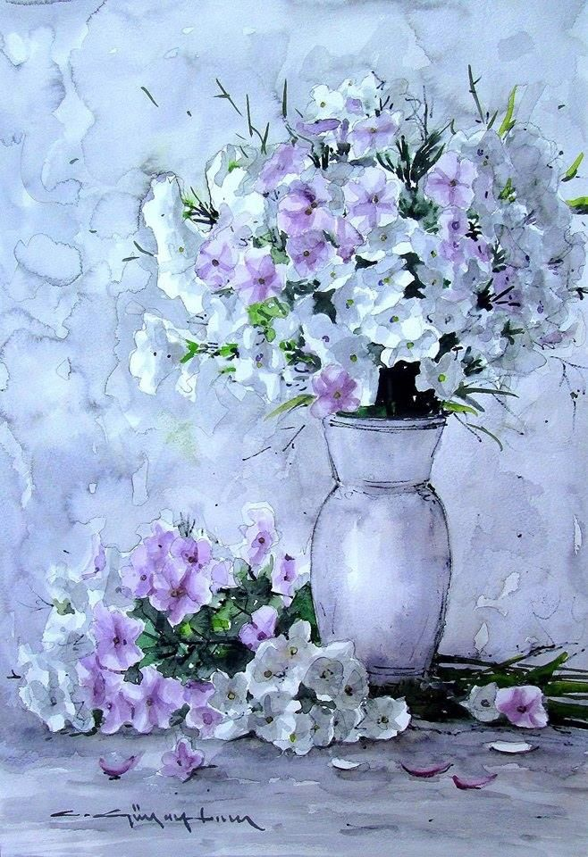 CELAL GÜNAYDIN Turkish Artist Painter Watercolor  suluboya.....50x33 cm