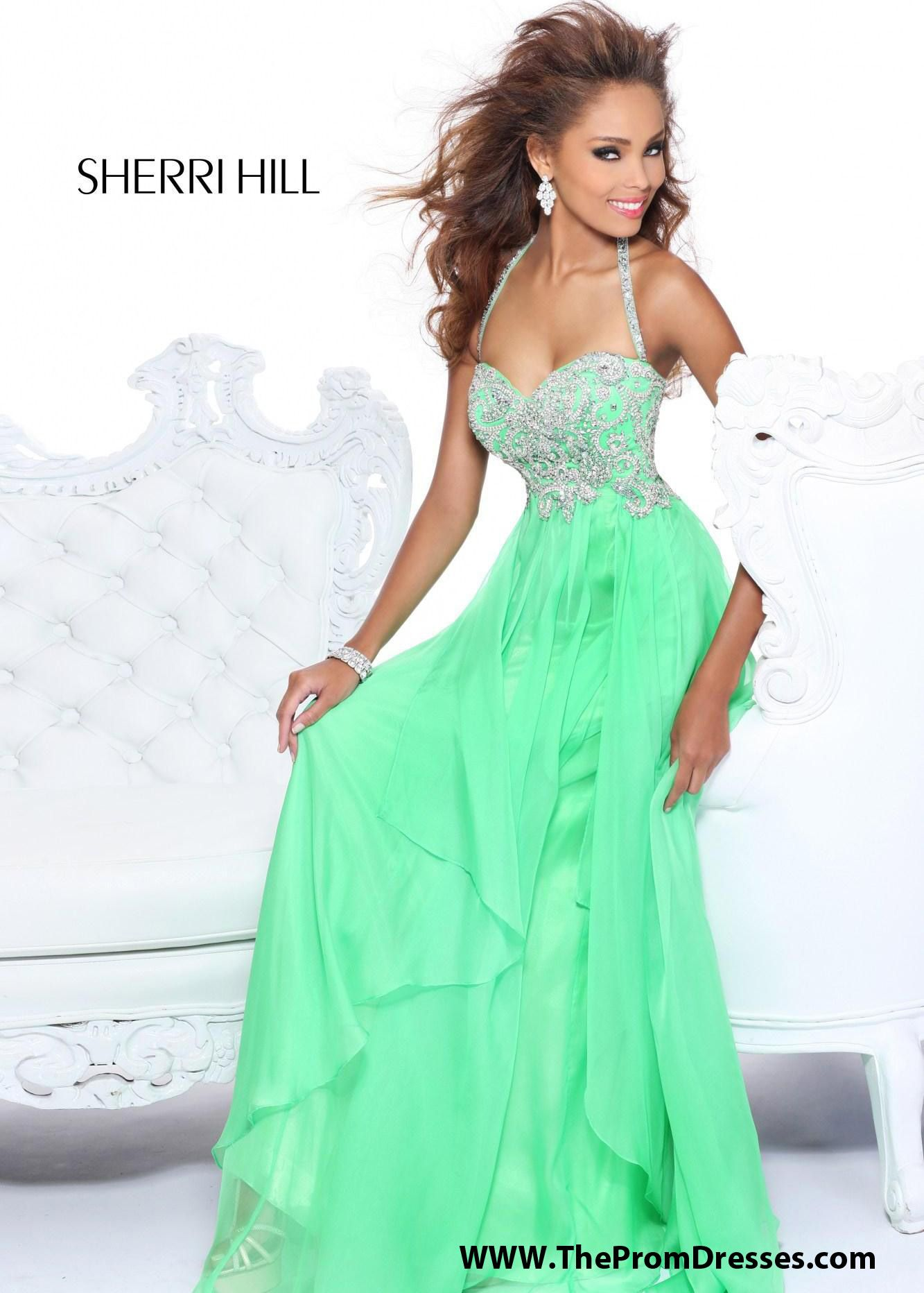 Sherri hill green evening gown formal ideas uc pinterest