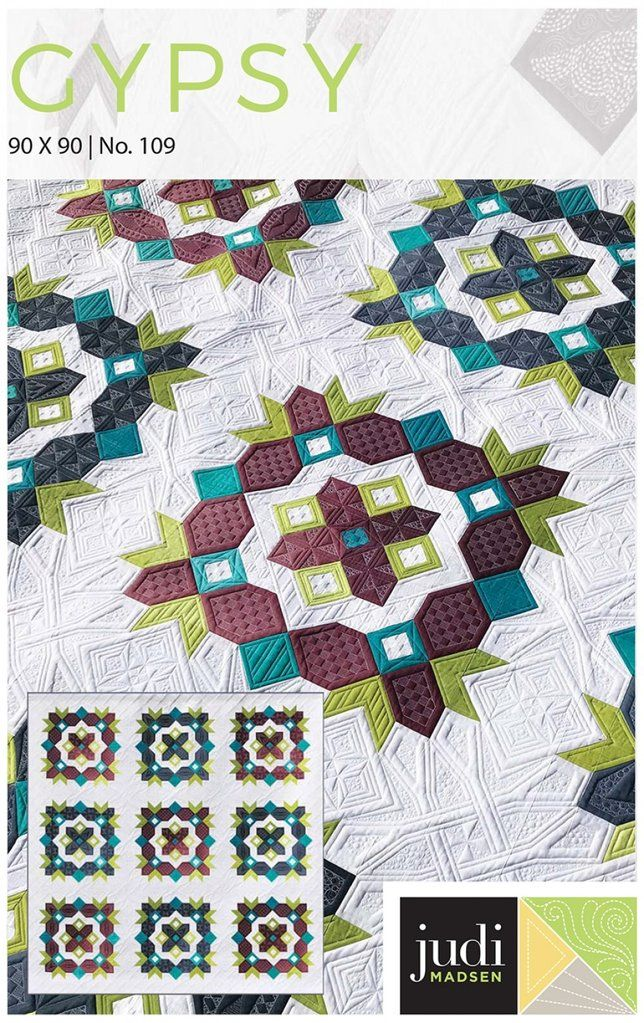 Gypsy Quilt Pattern is part of Quilt patterns, Modern quilt patterns, Quilts, Book quilt, Big block quilts, Quilt piecing - 90in x 90in  Gypsy is my all new pattern and it is a beautiful one! You will have a lot of fun putting this fabulous quilt top together  Use the same colors I did in the quilt, or use your own  You can also make this a beautiful scrappy quilt  The pattern is full color with carefully written instructions  I hope you enjoy making this quilt top as much as I did!