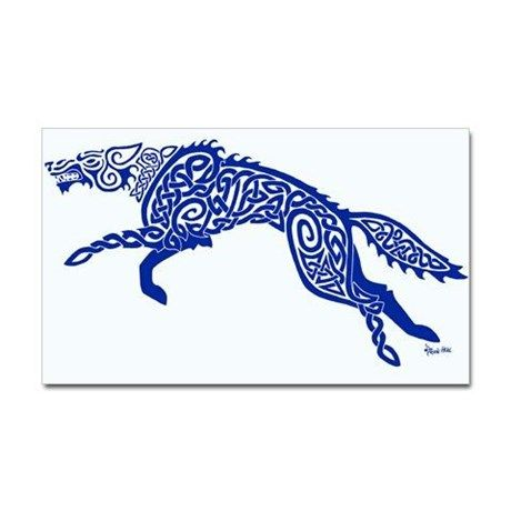Celtic Knotwork Wolf, Blue Sticker