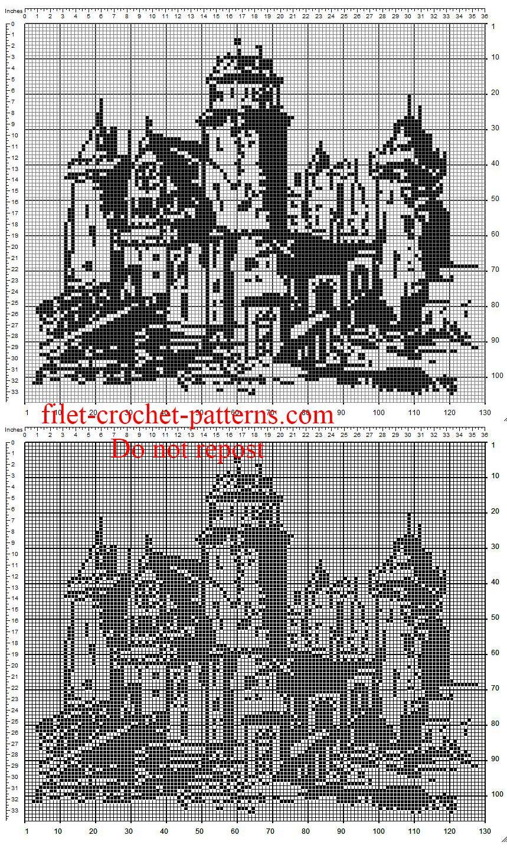 The castle free crochet filet painting | Thread crochet | Pinterest