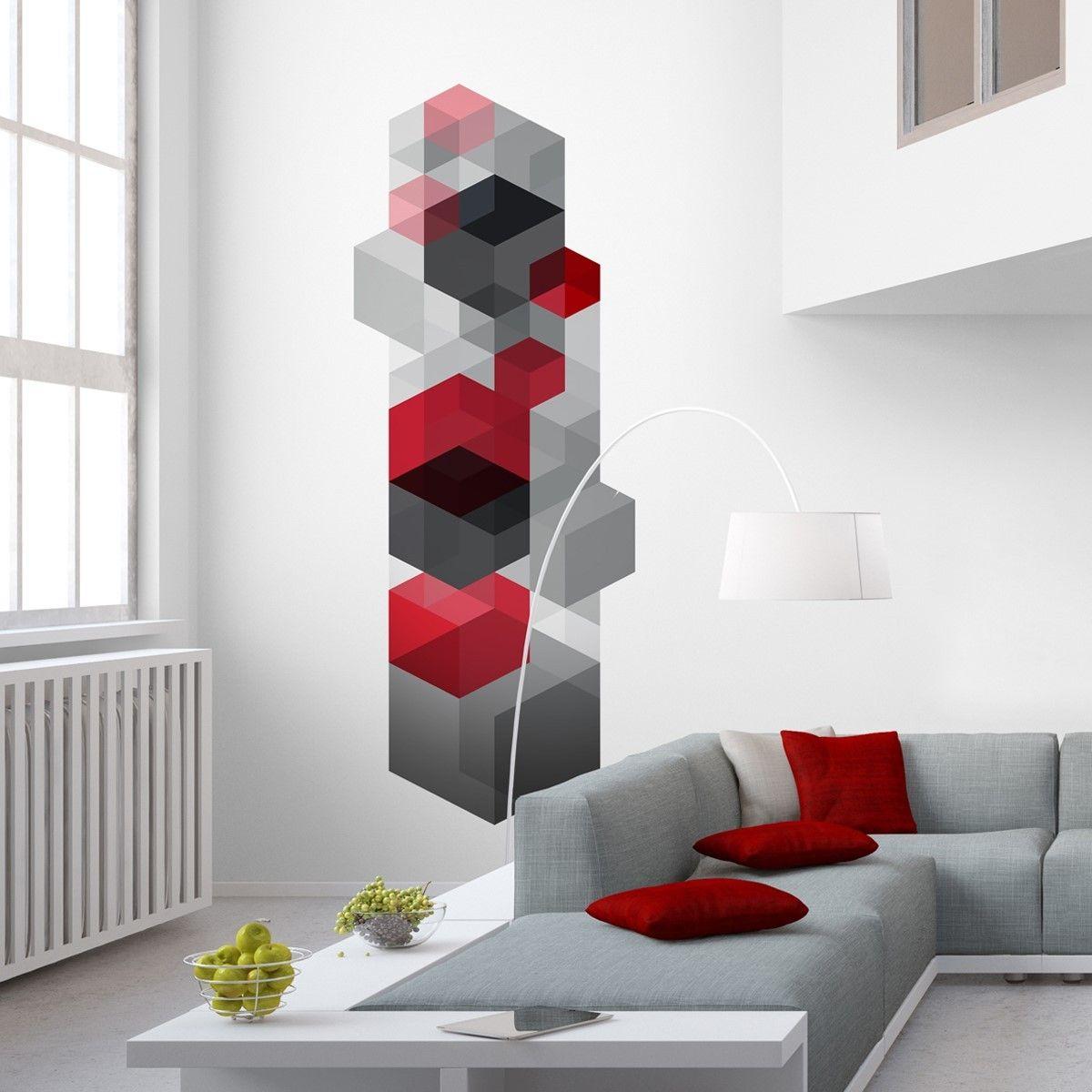 Papier peint cube design trompe l 39 oeil papier peint Salon mur rouge et gris