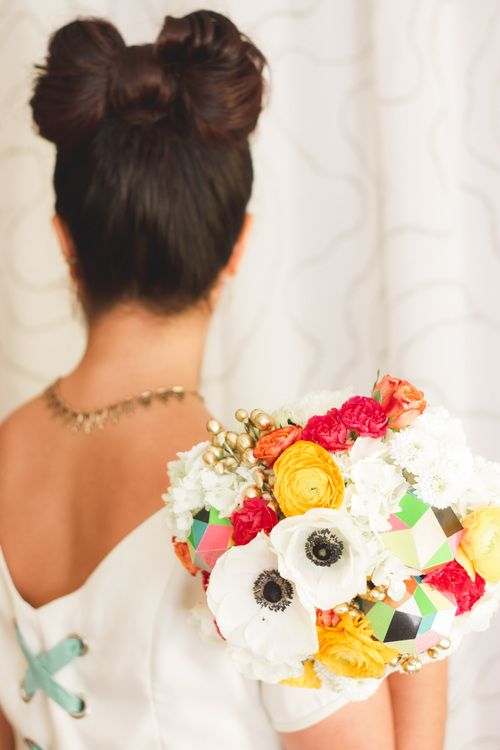 Technicolor Bridal Bouquet by The Regular Room in Milwaukee! What a fun, unique bouquet for your cute and simple wedding! #weddingbouquet #milwaukee #technicolor #uniquebouquet #uniquewedding