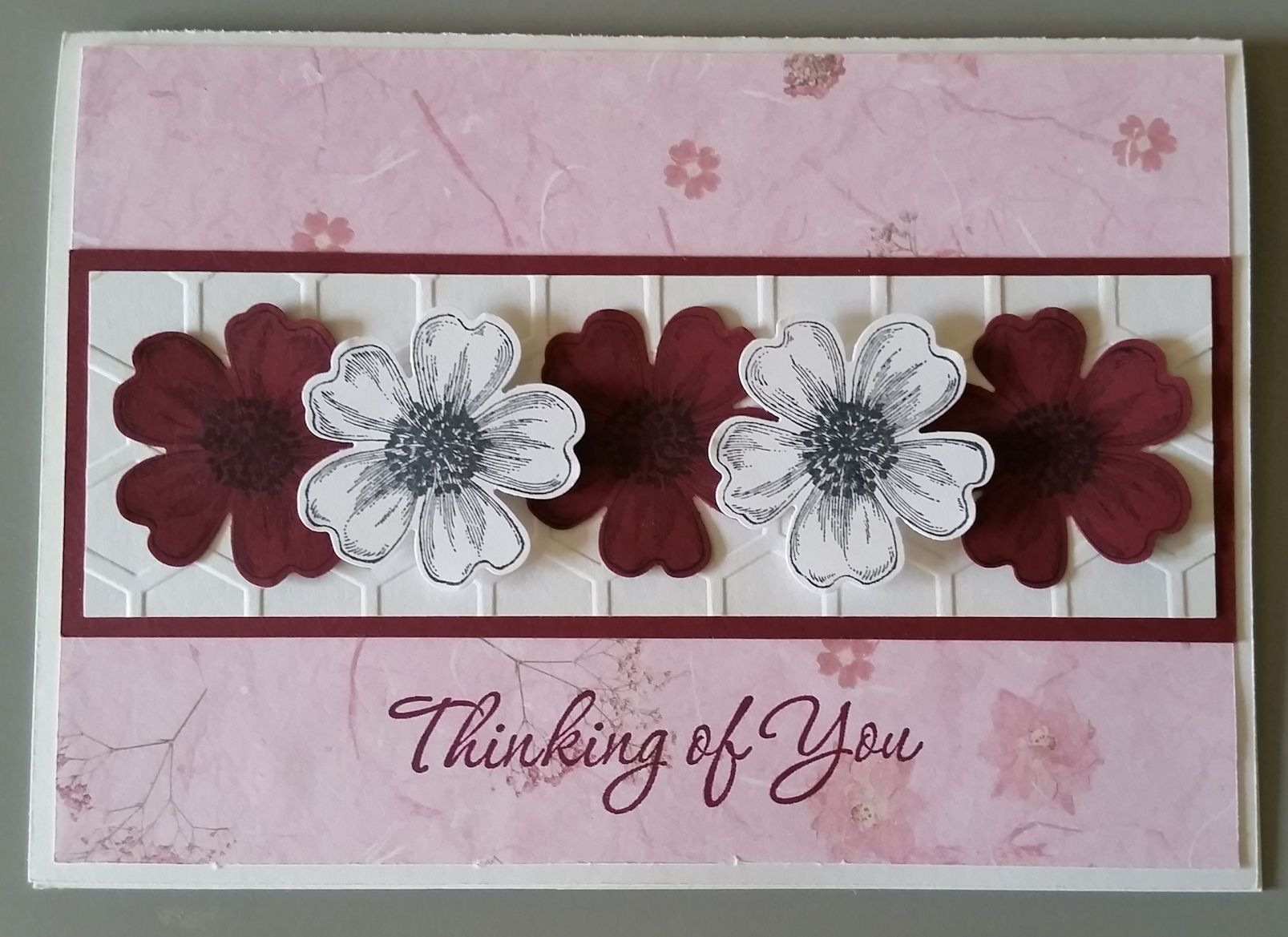 Thinking of you card designed by sandy using stampin up flower