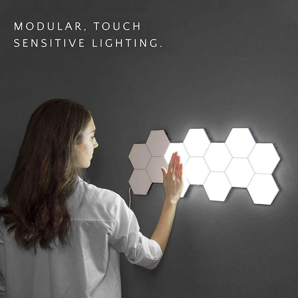 15pcs Led Modular Touch Sensitive Lighting Hexagonal Wall Lamps Creative Decor Wall Lights Modular