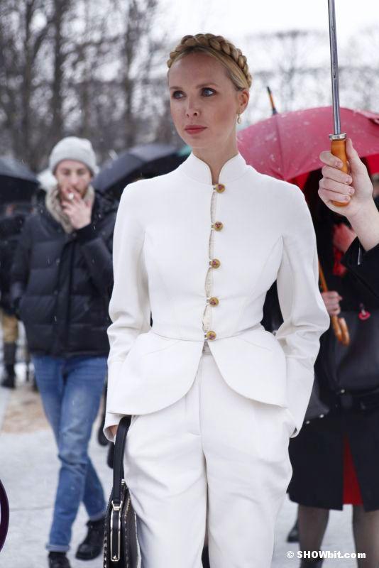 Paris Haute Couture Street Style. White Suite, blonde braid.