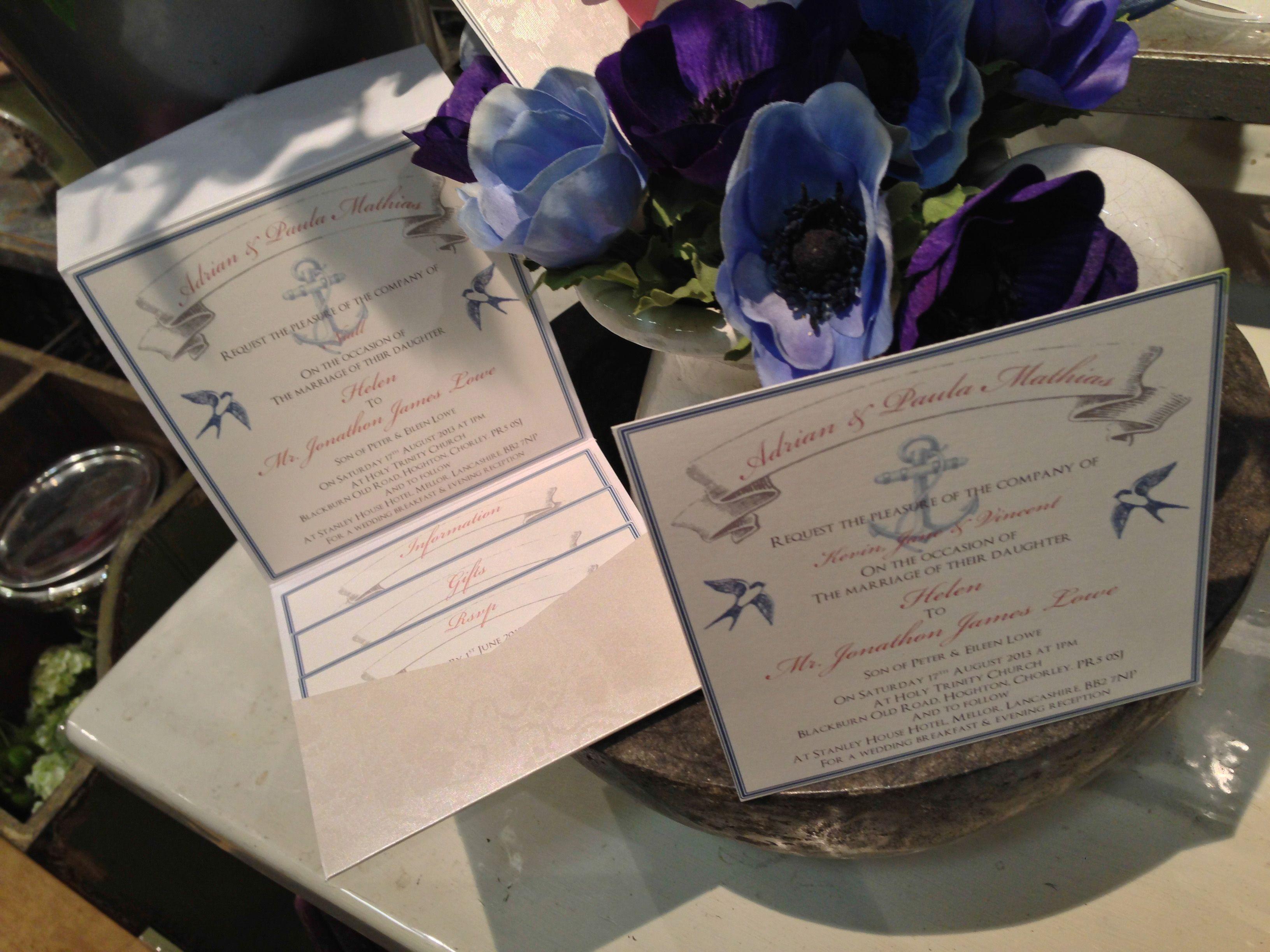 Naval/seafaring pocketfold wedding invitation - email:info ...