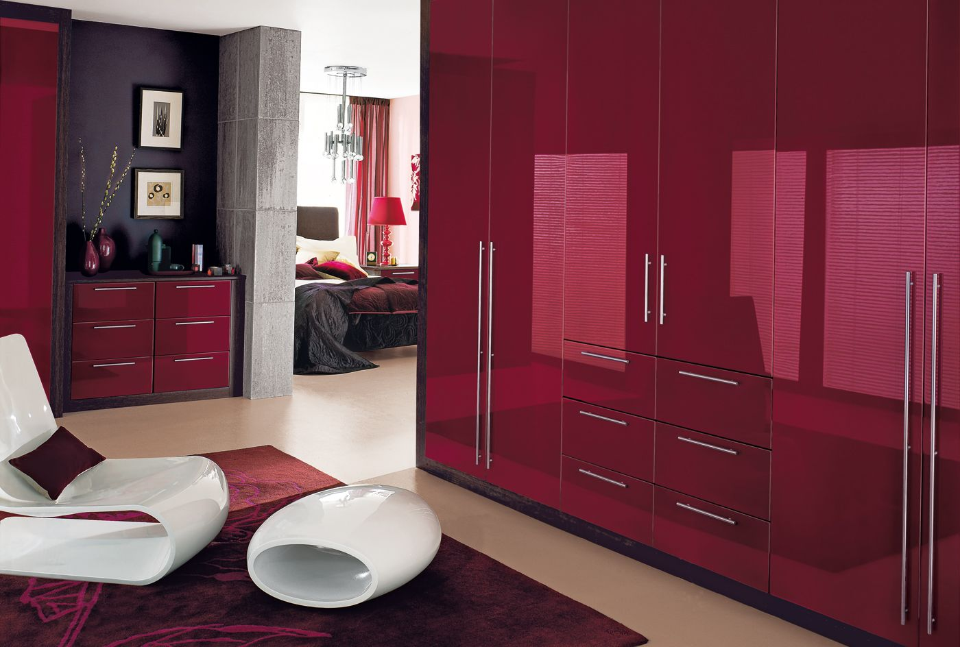 Cosmopolitan bedroom furniture wardrobes in burgundy by for Black and burgundy bedroom ideas