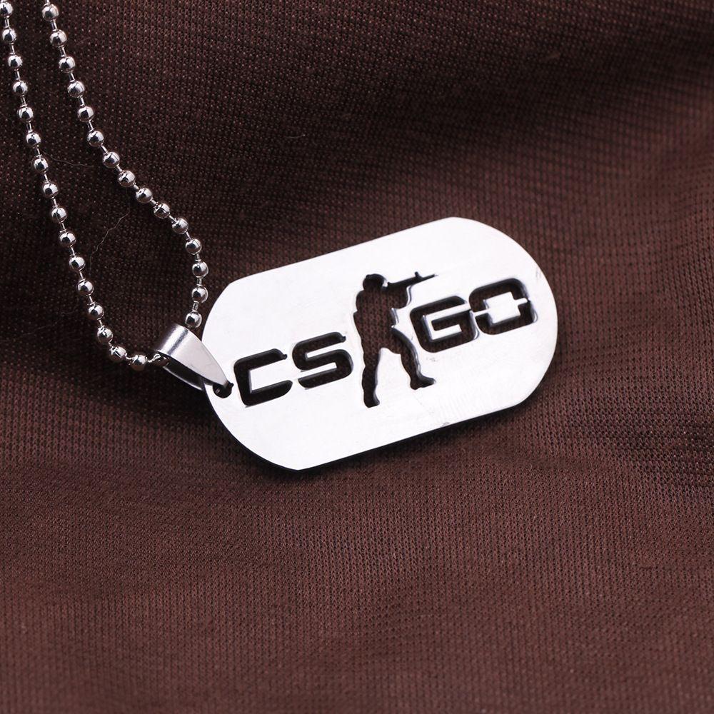 1 STÜCK Edelstahl Cs Unterwegs Halskette Counter Strike Hundemarke Anhänger Neckless Collier Schmuck Spiel Thema Cs Unterwegs