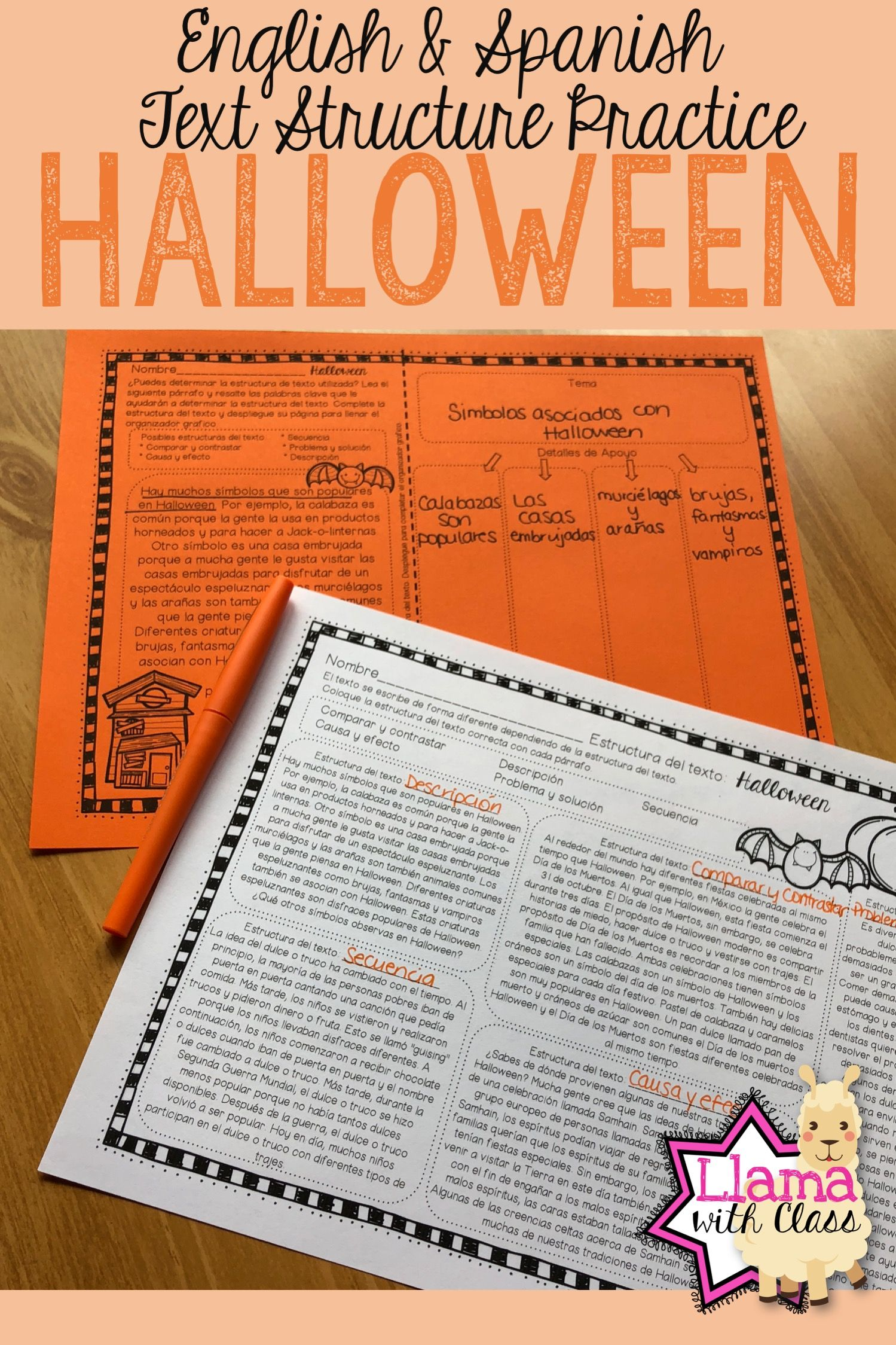 Halloween Text Structure Practice In English Amp Spanish