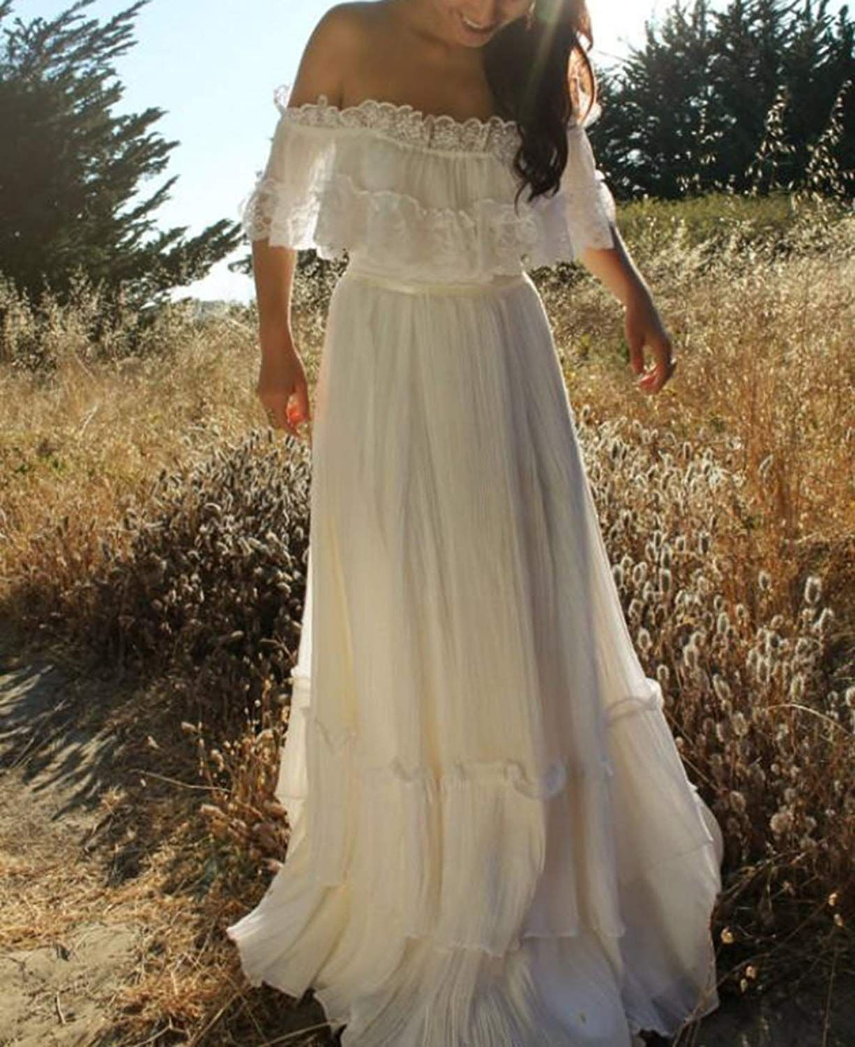bohemian wedding dress off the shoulder lace chiffon beach