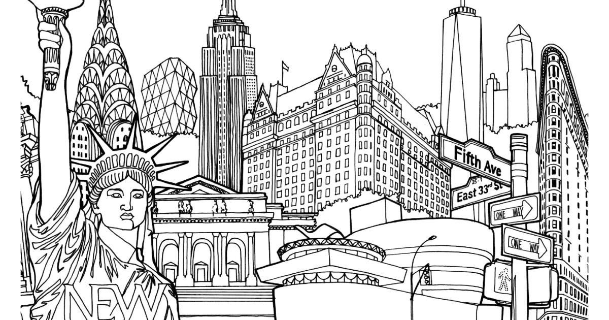 Coloring New York Liberty Tower Jpg Izobrazhenie Jpeg 1900 1378