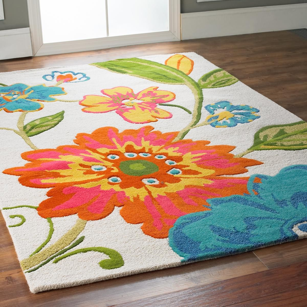 Pink Turquoise Girly Chic Floral Paisley Pattern Rug By: Living Color Floral Stem On Ivory Rug