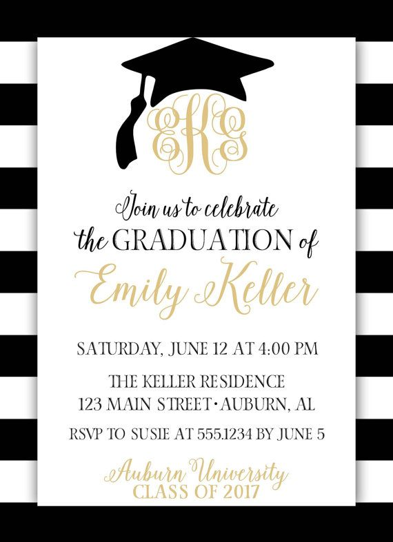 Monogram graduation invitation monogram graduation announcement monogram graduation invitation monogram graduation announcement black and gold graduation invitation grad announcement grad party grad party filmwisefo