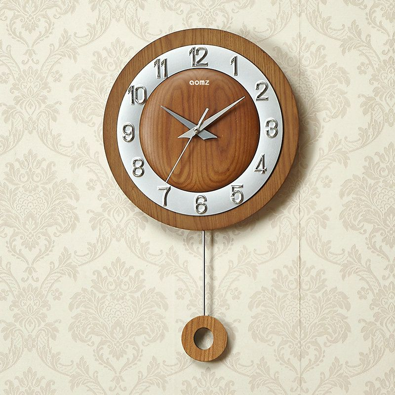Round Non Ticking Wall Clock Modern Simple Wall Clock With Pendulum Wall Clock Pendulum Wall Clock Wall Clock Modern