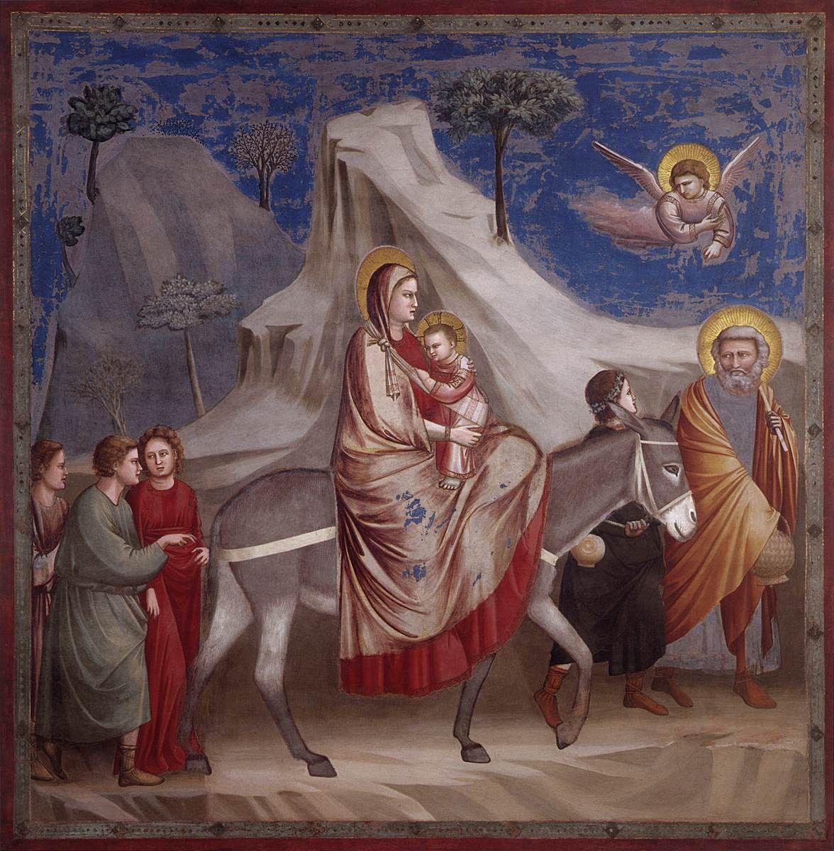 """""""Huida de Egipto""""  fresco pintado por Giotto para la capilla Scrovegni dentro de la serie sobre la vida de Jesús, realizado entre el 1304-1306."""