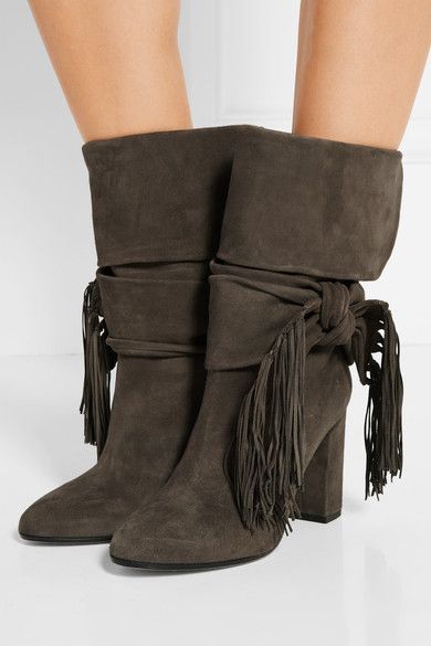 Aquazzura Fringe Bow Booties