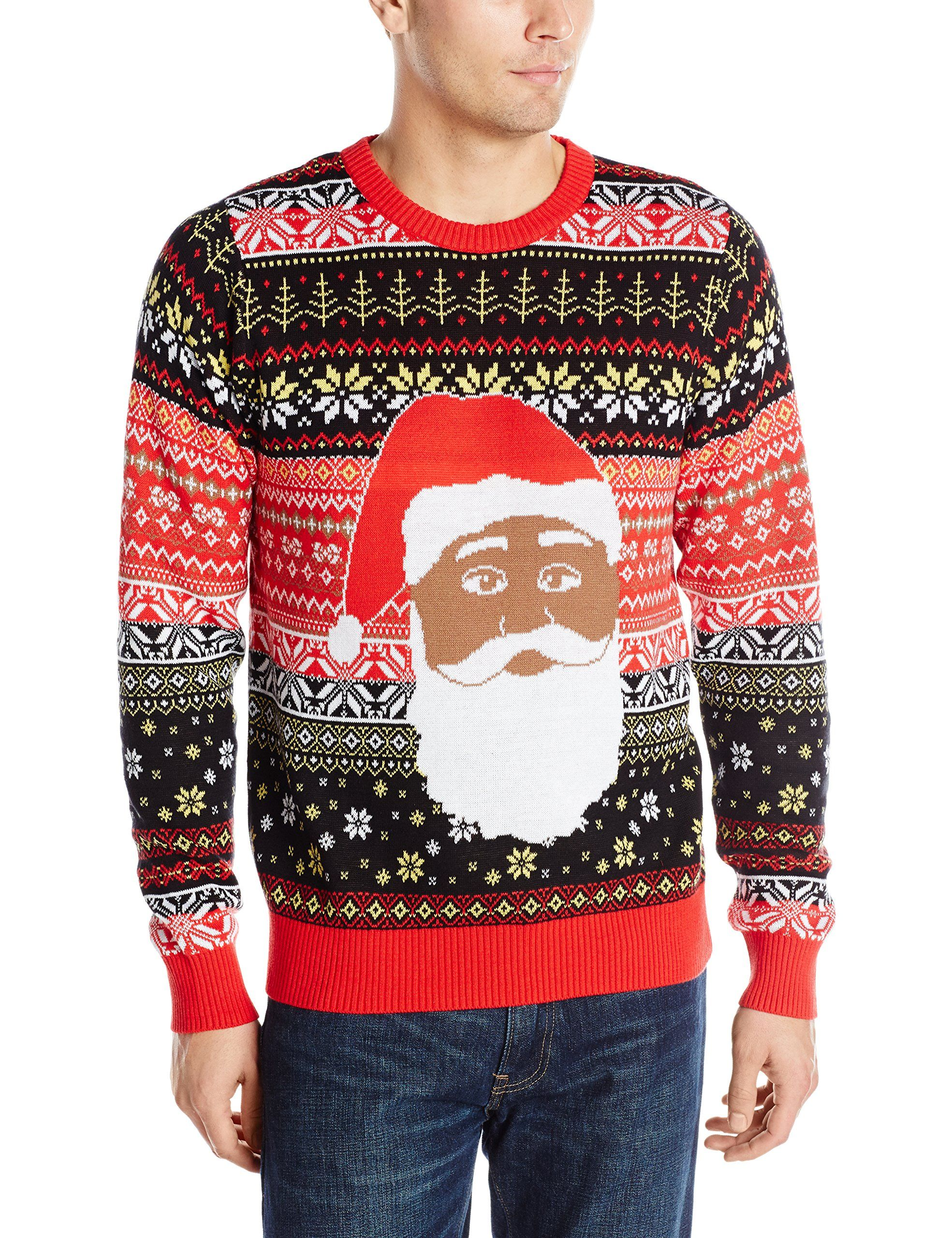 black santa ugly christmas sweater