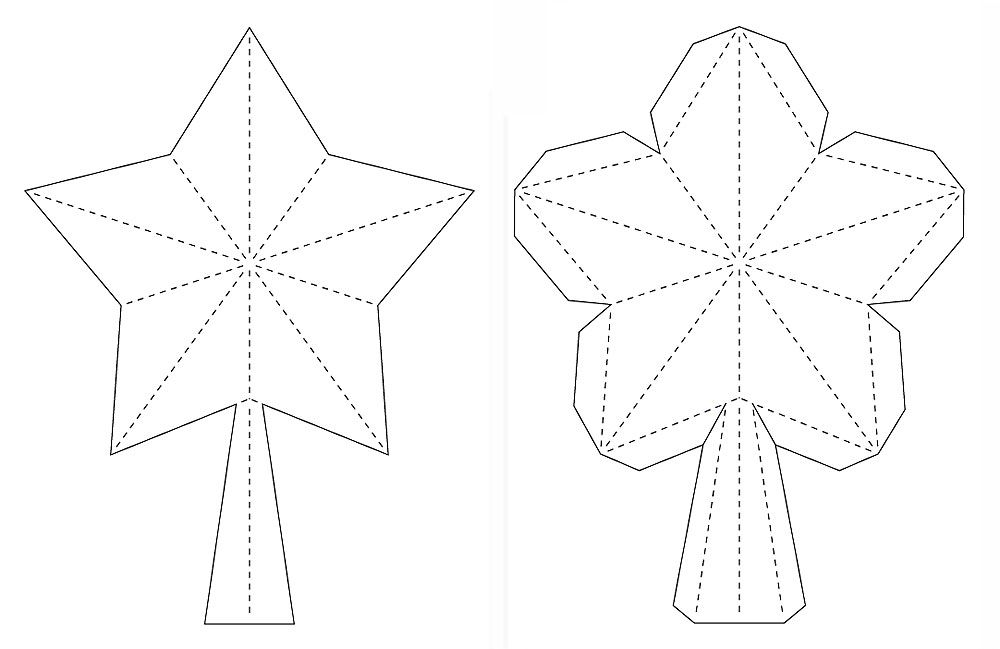3D Paper Star For Xmas Tree Topper (FREE SVG, DXF, PDF