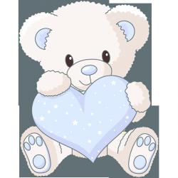 Sticker ourson coeur bleu stickers b b enfant - Idee saint valentin deco murale originale avec coeur geant ...