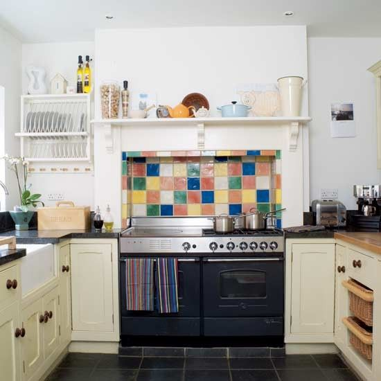 Country style kitchen belfast sink color tile and for Coloured sinks kitchens