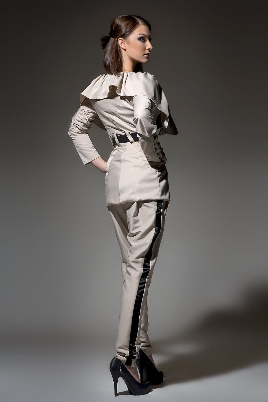 Women's Khaki Tan Taupe Champgne and Black  tuxedo pants low rise pants tapered pants Made to order (110.00 USD) by DariaKaraseva