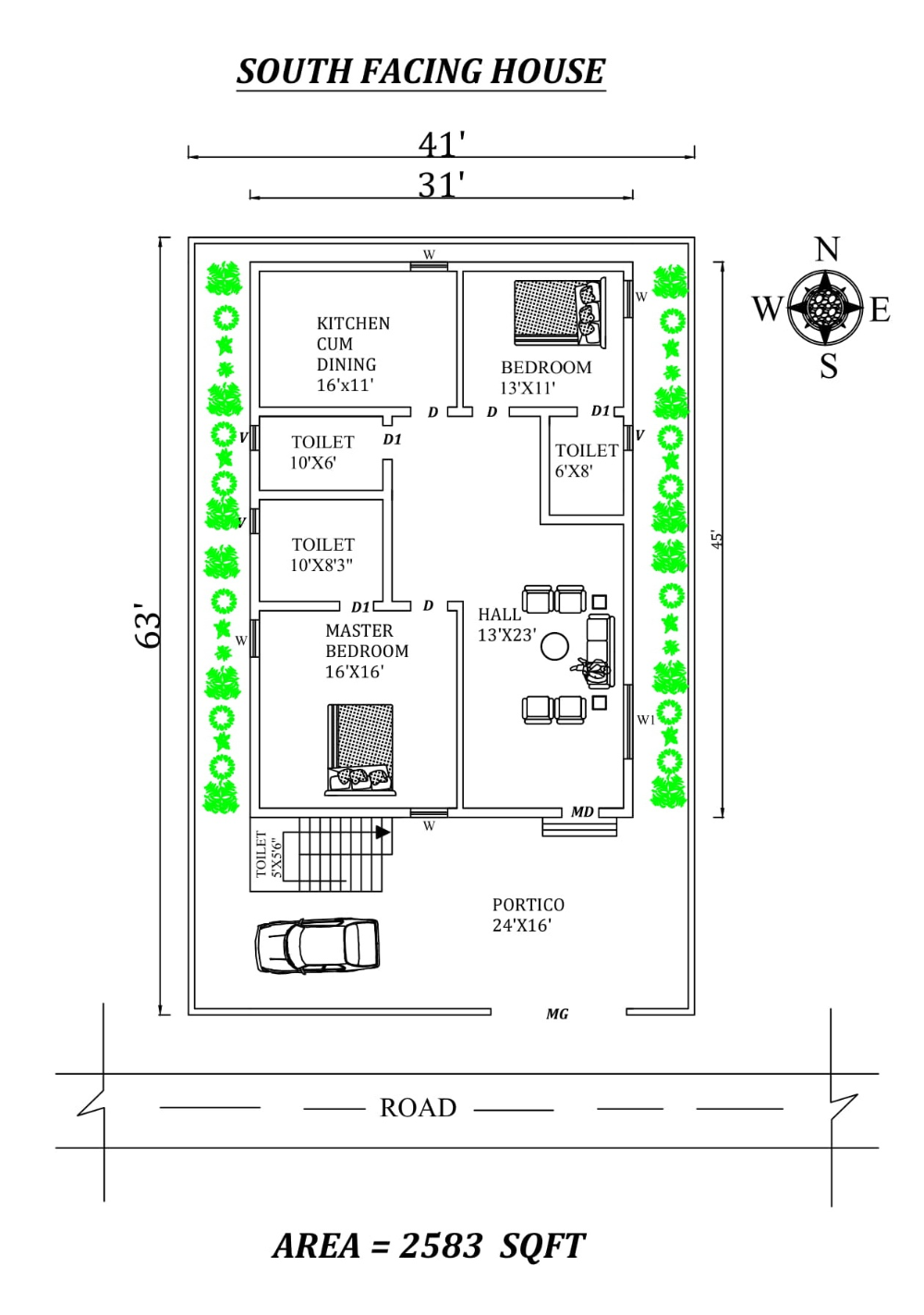 Autocad Drawing Of 41 X63 Awesome South Facing 2bhk House Plan As Per Vastu Shastra Dwg And Pdf File Details 2bhk House Plan South Facing House How To Plan