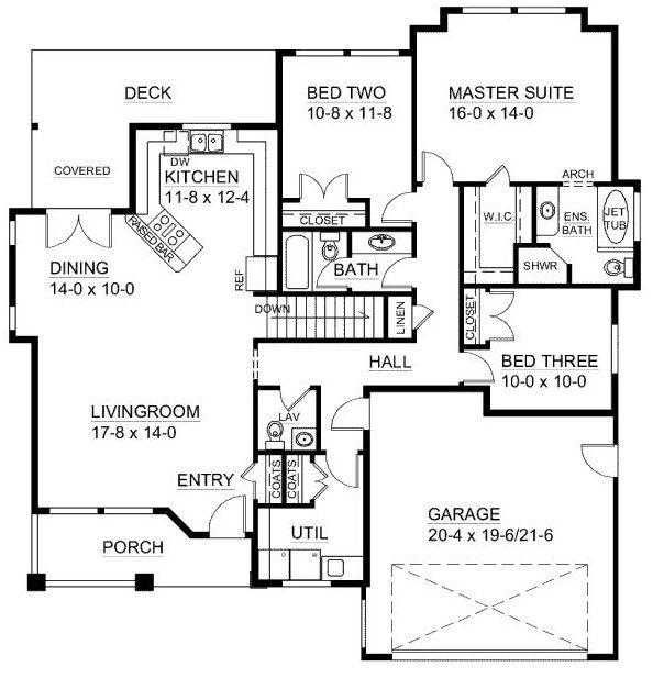 Planos de casas estilo americano de una planta planos for Croquis de casas