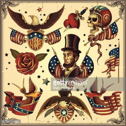 Patriotic American Tattoo Usa Tattoo Traditional Usa Tattoo American Flag Tattoo