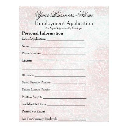 Feminine Employee Job Application Form Business Flyer  Business