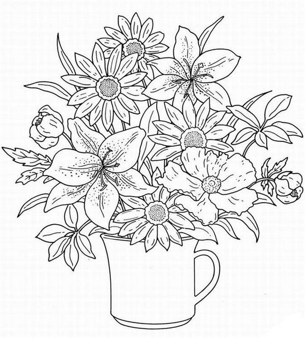 flower bouquet coloring pages colouring adult detailed advanced printable - Flower Images Coloring Pages