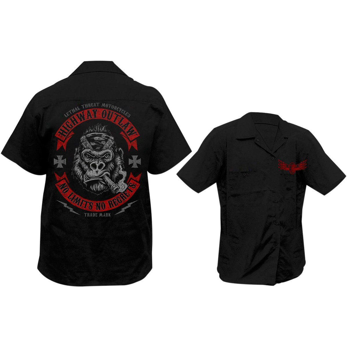 Lethal Threat No Limits Gorilla Screen Printed Workshirt Products