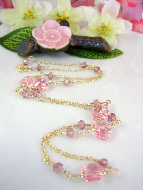 778c0100cc0b6 RESERVED for YVONNE -Pink cherry blossom Swarovski crystal rosary ...