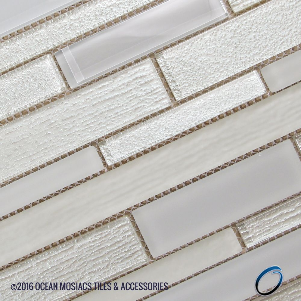 Anora Snow White Mosaic Glass Tile | Pinterest | Mosaic glass, White ...