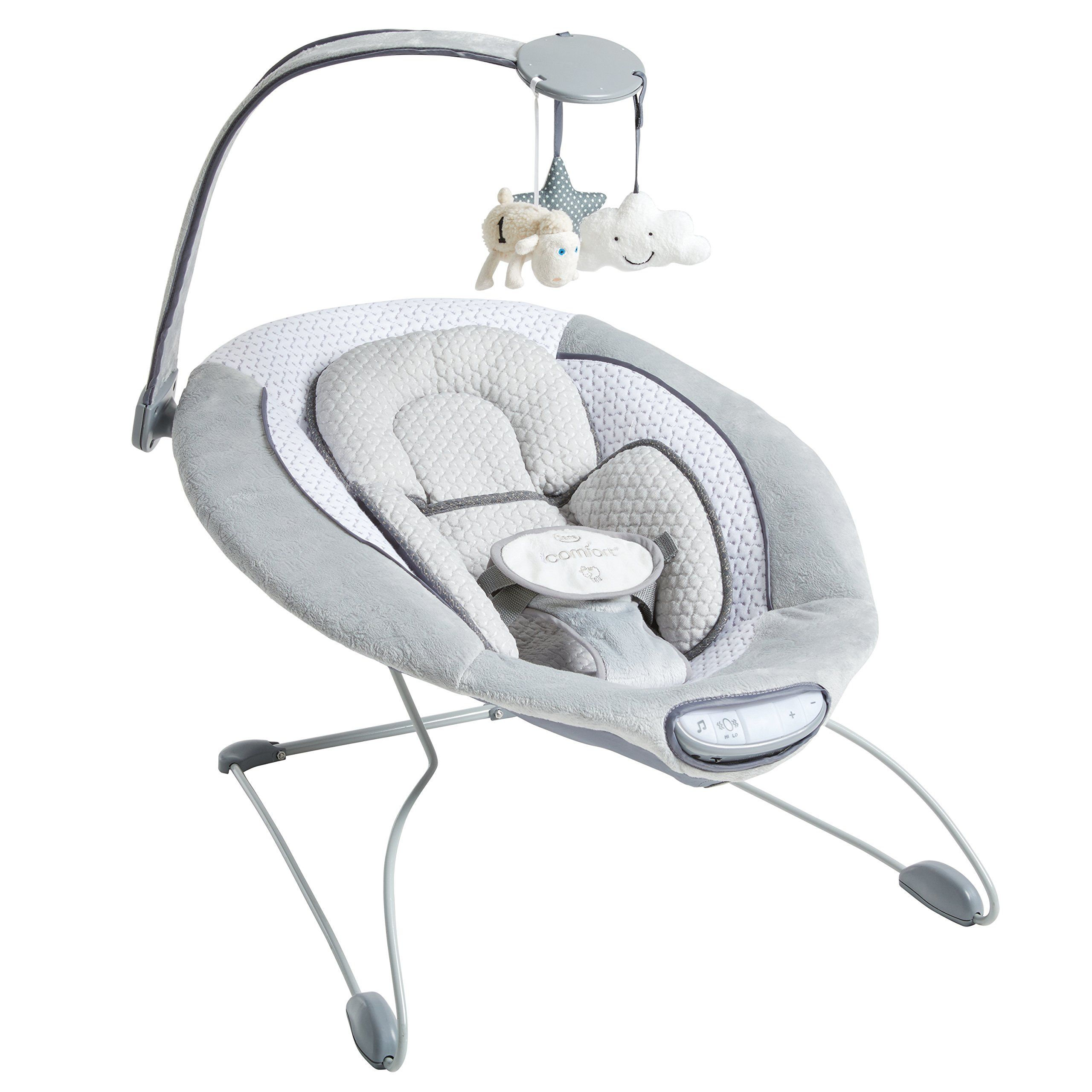 Serta I Comfort Premium Infant Bouncer Grey Oversized Cushioned