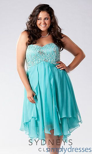 Knee Length Strapless Plus Size Dress At Simplydresses