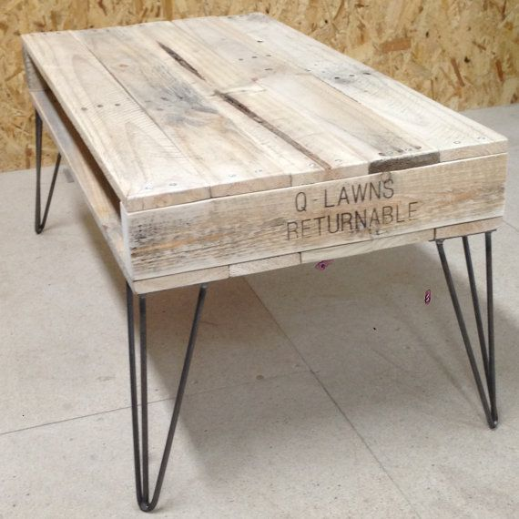 Reclaimed Pallet Wood Coffee Table With Hairpin Legs By
